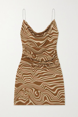 MAISIE WILEN Bead-embellished Ruched Printed Stretch-jersey Mini Dress - Brown