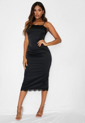 Missguided Black Lace Trim Satin Bodycon Midi Dress