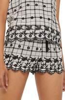 Topshop Embroidered Pajama Shorts