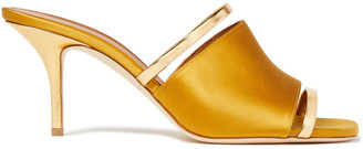 Malone Souliers Laney Metallic Leather-trimmed Satin Mules