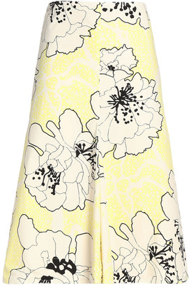 Marni Floral-print Cotton-poplin Skirt