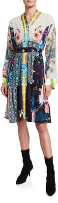 Johnny Was Kyoto Printed Silk Kimono Dress w/ Belt