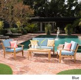 Christopher Knight Home Peyton 4-piece Outdoor Wooden Chat Set with Cushions