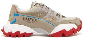 Valentino Climbers Low Top Leather Trainers - Mens - Beige Multi