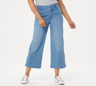 Isaac Mizrahi Live! Petite TRUE DENIM Wide-Leg Crop Jeans