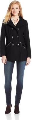 Kensie Women's Wool Military Double Breasted Coat