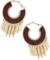 Thalia Sodi Gold-Tone Crystal & Wood Fringed Hoop Earrings, Only at Macy's