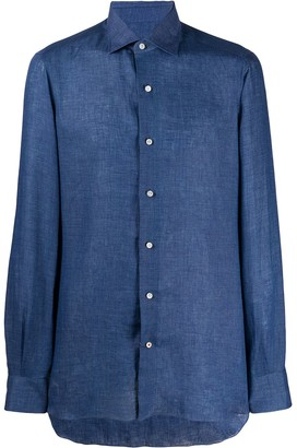 Isaia Point-Collar Chambray Shirt