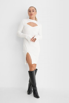 Angelica Blick X NA-KD Cut Out Ribbed Slit Dress