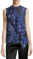 Jason Wu Sleeveless Ruffled Floral-Print Top, Black/Iris