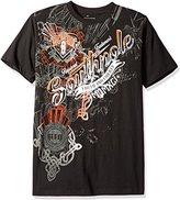 Southpole Men's Short Sleeve All Over Metal Screen Print Graphic Tee With Logo