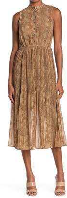 Moon River Sleeveless Button Front Snake Skin Print Pleat Dress