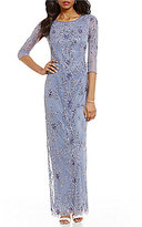 Pisarro Nights 3/4 Sleeve Beaded Gown