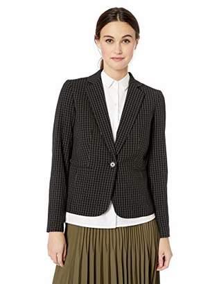 Nine West Women's 1 Button Notch Collar Windowpane Jacket