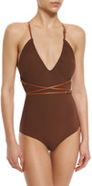 Michael Kors Belted Wrap One-Piece Swimsuit