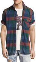 PRPS Lawn Chair Plaid Denim Shirt, Multicolor