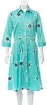 Samantha Sung Printed Button-Up Dress