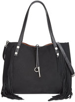 Calvin Klein Reversible Faux Suede Fringe Tote with Pouch