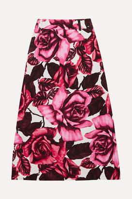 Prada Floral-print Cotton-poplin Skirt - Pink