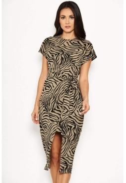 AX Paris Women's Animal Print Wrap Style Dress