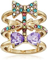 "Betsey Johnson Sweet Shop"" Triple Bow Multi-Row Ring, Size 7"