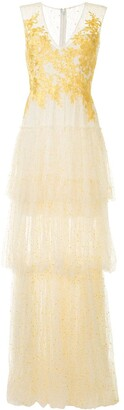 Costarellos Floral Lace Evening Dress