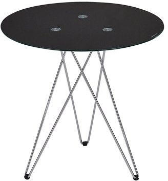 "Pilaster Designs Madeira 20"" 3 Legged Chrome Metal & Black Tempered Glass Top Modern Round Side End or Bedside Table"