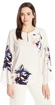 Vince Camuto Women's Bell-Sleeve Duet Floral Keyhole Blouse