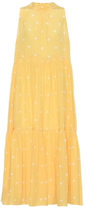 Polka-dot silk crepe midi dress