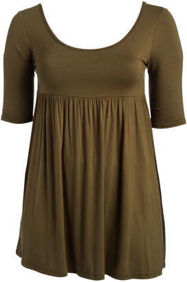 Moa Collection MOA Collection Women's Tunics Olive - Olive Gathered Scoop Neck Tunic - Plus