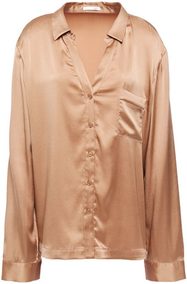 Skin Stretch-silk Satin Pajama Shirt