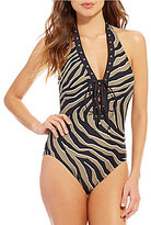 MICHAEL Michael Kors Zebra Lace Up Halter One-Piece