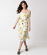 Unique Vintage Retro Style White and Yellow Floral Print Cold Shoulder Flare Dress