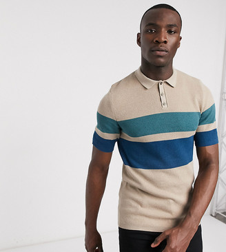 ASOS DESIGN Tall knitted textured stripe polo t-shirt in oatmeal