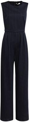 Max Mara Pinstriped Cotton Blend Jersey Jumpsuit