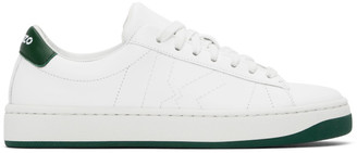 Kenzo White and Green Sport Logo Sneakers