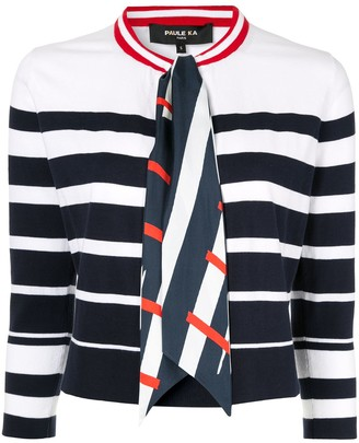 Paule Ka Scarf-Embellished Stripe Cardigan