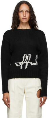 Off-White Black Intarsia Logo Crewneck