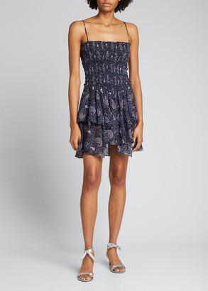Etoile Isabel Marant Anka Smocked Cotton Paisley Dress