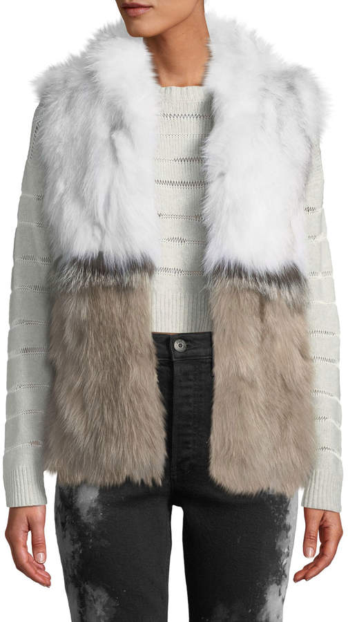 Adrienne Landau Colorblock Fur Vest