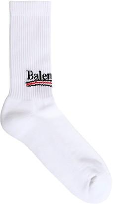 Balenciaga Logo Intarsia Stretch Cotton Socks
