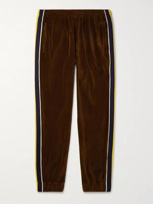 Gucci Tapered Webbing-Trimmed Velvet Track Pants - Men - Brown
