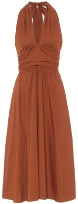 STAUD Moana cotton-poplin halterneck dress