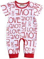 Ma&Baby Boys Girls Pajamas Love letter print Red Romper Bodysuit Outfit (12-18 Months)