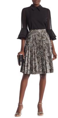Gracia Leopard Print Pleated A-Line Skirt