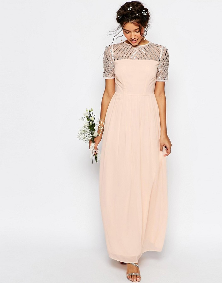 Maya Chiffon Maxi Dress with Embellishment
