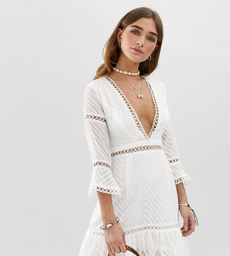 Sisters Of The Tribe Petite plunge front lace dress