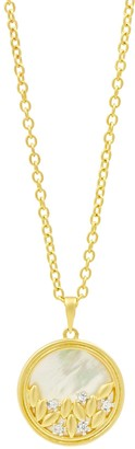 Freida Rothman 14K Yellow Gold Plated Sterling Silver Mother of Pearl & CZ Circle Pendant Necklace