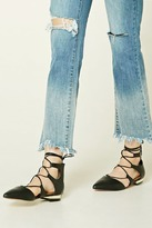 Forever 21 Lace-Up Faux Leather Flats