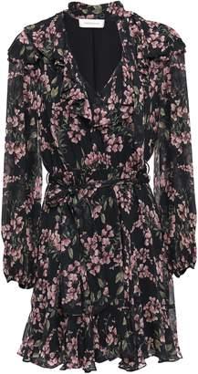 Zimmermann Tie-neck Ruffled Floral-print Georgette Mini Dress